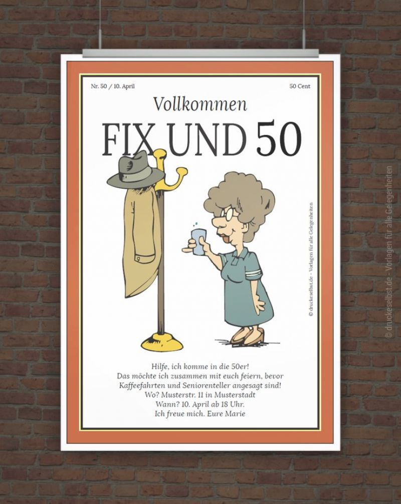 Einladungskarten Zum 50 Geburtstag Selber Drucken Einladung 50