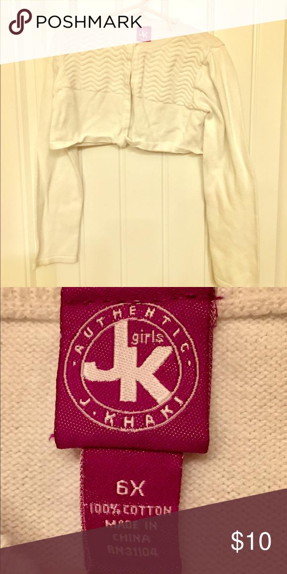 006c90da18a2 Girls J. Khaki White Sweater Bolero Cardigan