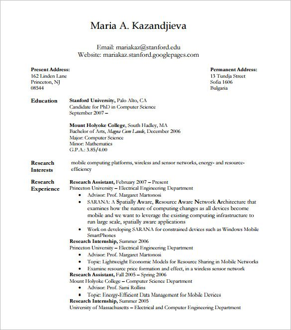 Latex Phd Sample Resume And Template