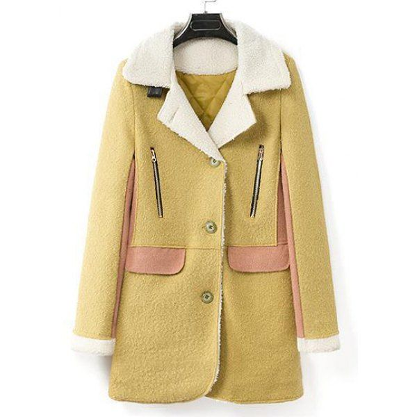 Graceful Faux Wool Turn-Down Collar Splicing Long Sleeve Flocking Worsted Coat For Women, AS THE PICTURE, XL in Jackets & Coats | DressLily.com