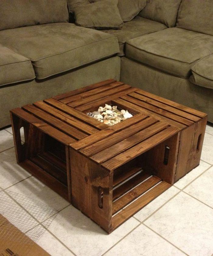 wohnzimmertisch selber bauen  hlzerne gestaltung  neben einem sofa  Kreatives aus Holz