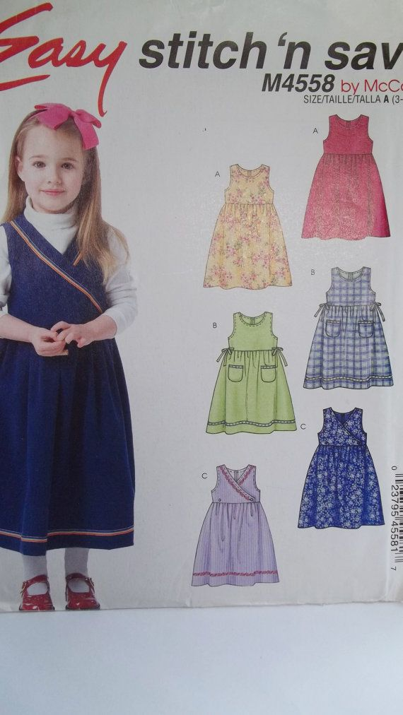 Girl\'s Jumper Sewing Pattern McCall\'s M4558 Easy by WitsEndDesign ...