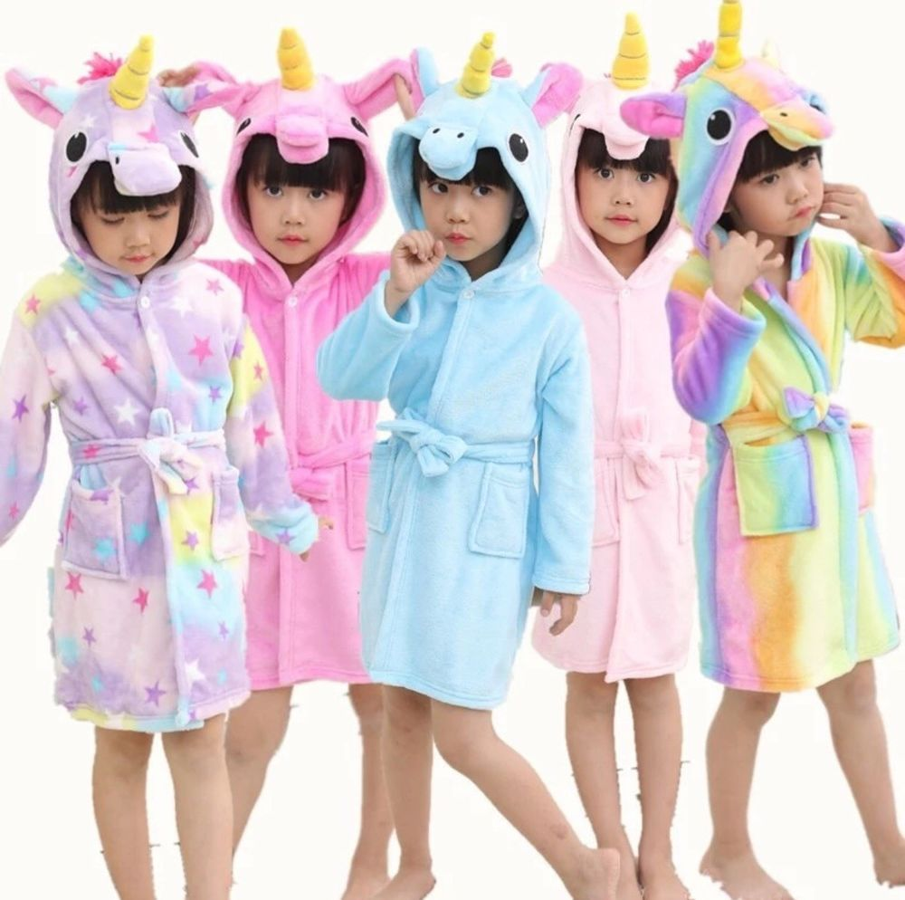 KIDS SOFT HOODED DRESSING GOWN GIRLS BOYS DINOSAUR OR UNICORN DESIGN COSY FLEECE