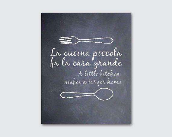 Kitchen Wall Art La Cucina Piccola Fa La Casa Grande A Etsy Kitchen Decor Wall Art Kitchen Wall Art Italian Style Kitchens