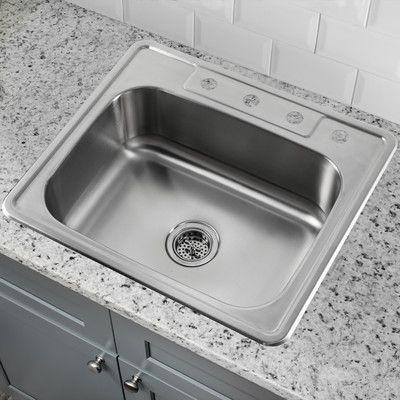 Soleil 25 X 22 Single Bowl Drop In Stainless Steel Kitchen Sink