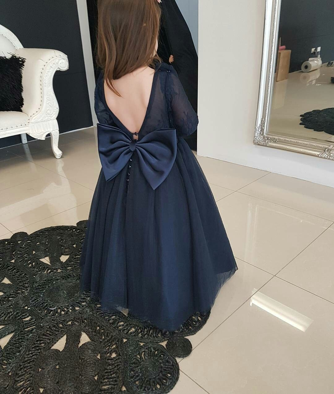 4bfb4a8b82 Lovely Dark Navy Tulle Backless Flower Girl Dresses with Long Lace Sleeves  2018