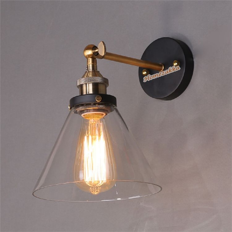 1 america country style funnel shape glass wall light iron base retro edison lighting barcafe shopaislehome decorative lamp mozeypictures Image collections