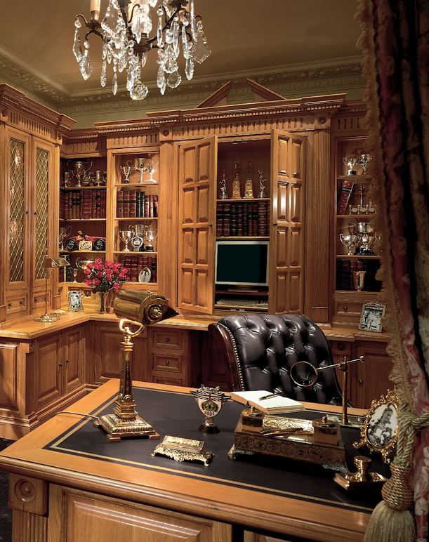 Luxury Home Library Design: Victorian Study/Library In Oak