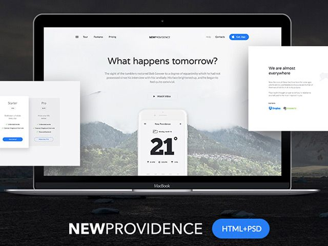 new providence is a free landing page template feature by modern style clean colour scheme - Free Html Pages