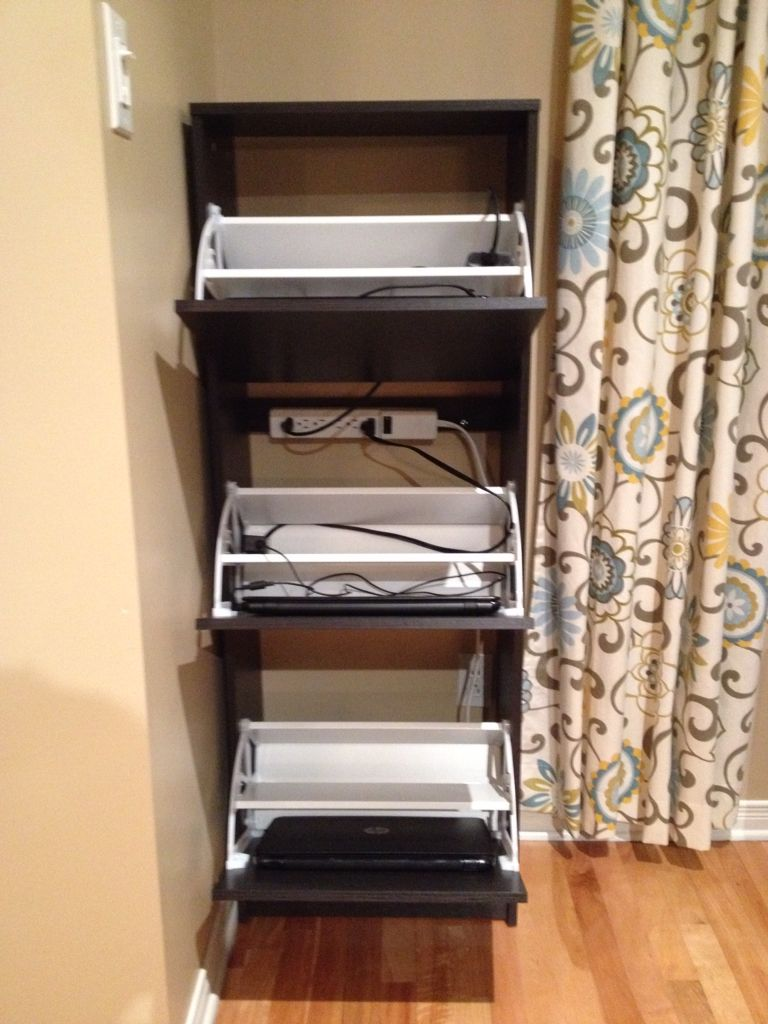 Turn an IKEA shoe cabinet into a laptop storage charging