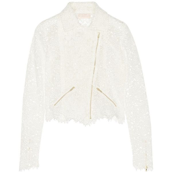 Rime Arodaky Drew cropped cotton-lace biker jacket (6.345 BRL) ❤ liked on Polyvore featuring outerwear, jackets, white, white lace jacket, cropped motorcycle jacket, cotton jacket, cropped moto jacket and lace jacket
