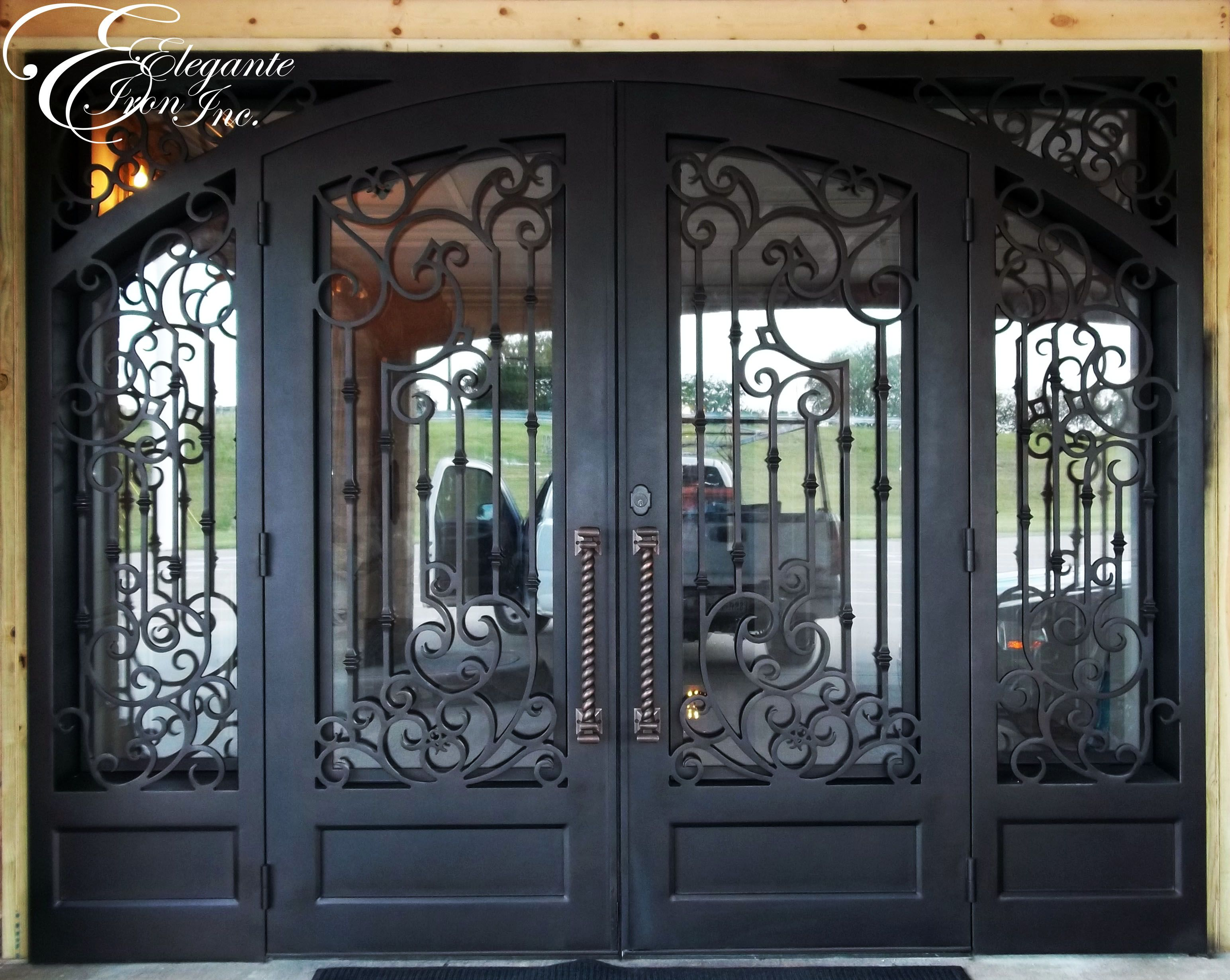 Custom Wrought Iron Door With Sidelights With Images Iron