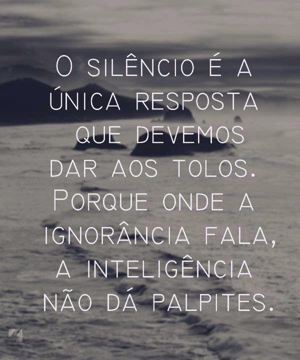 Silencio Respostas Ignorância E Inteligência Bons Pensamentos