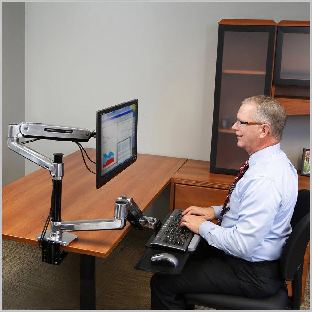 Ergotron Sit Stand Desk Mount System For Workfit Lx Sit Stand