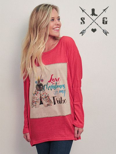 Love Christmas With My Tribe Patch on Red Tunic Sweater | Southern ...