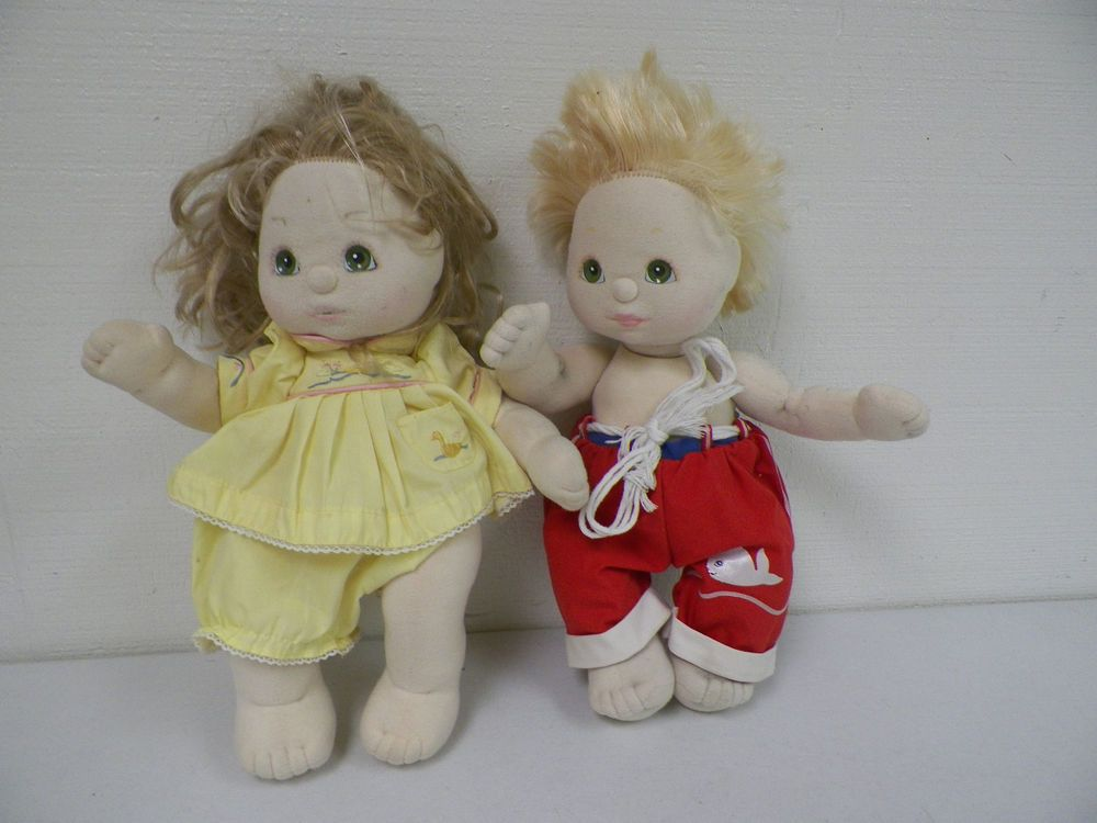 PAIR VINTAGE 1985 MY CHILD DOLLS BLOND HAIR BOY TWO TONE HAIR GIRL GREEN EYES #MATTEL