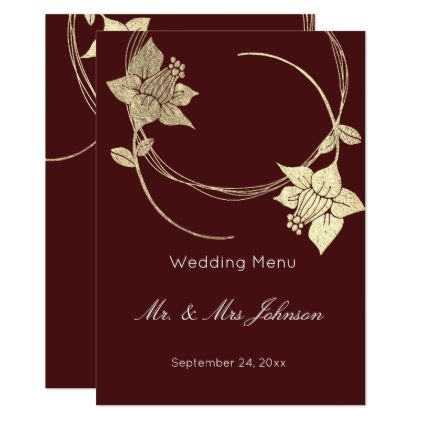 Burgundy Maroon Gold Floral Wedding Event Menu Card  Minimal