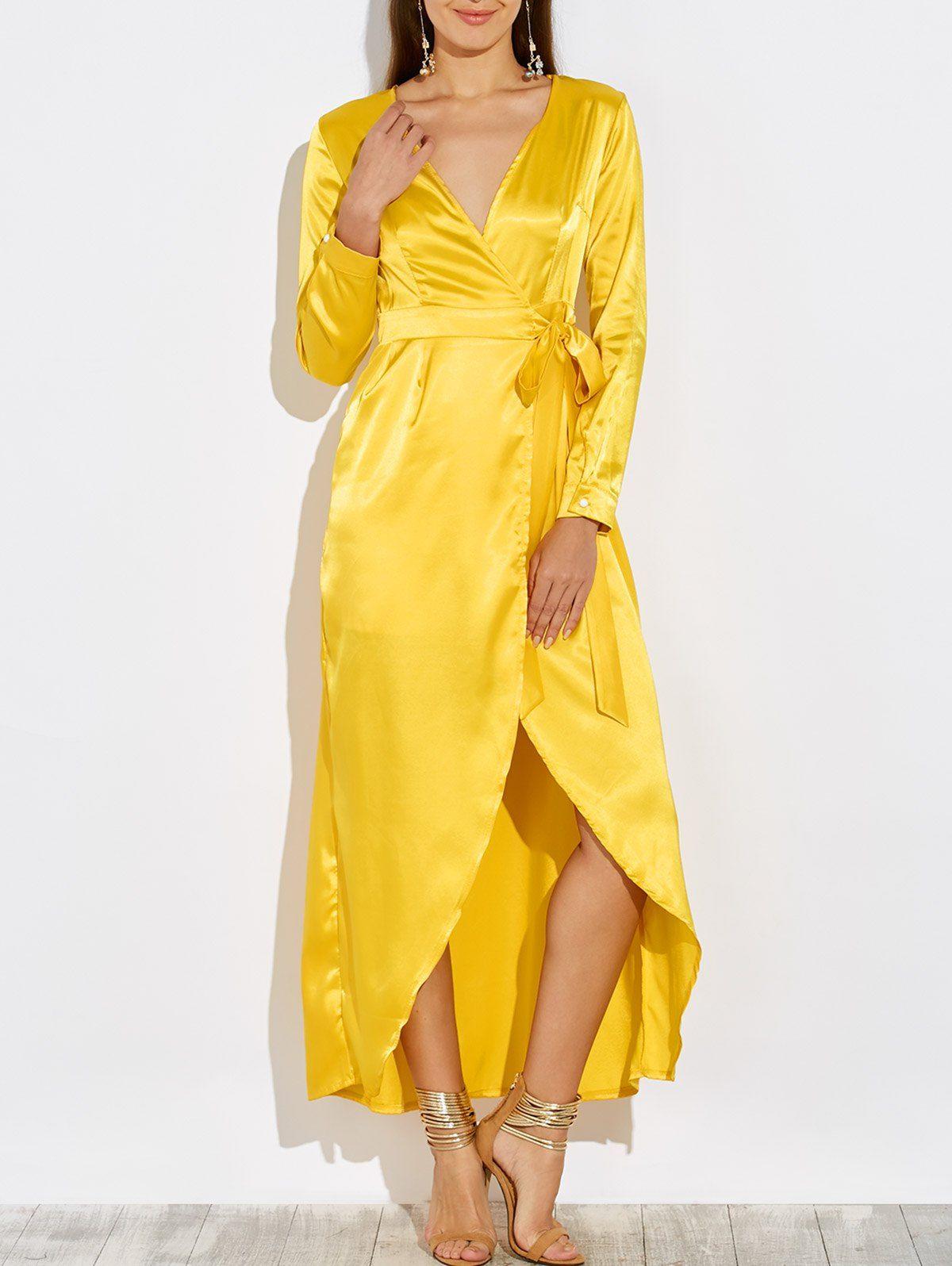 Long sleeve satin wrap romper maxi dress usd fashion