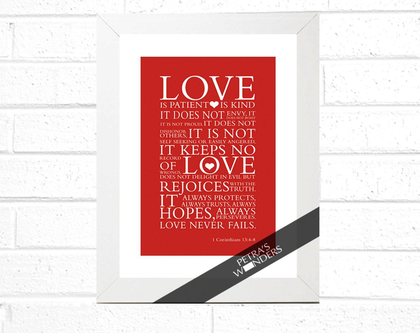 Love Print Framed Wall Art Bible Verse 1 Corinthians 13 4 7 Scripture Art Framed Print Wall Art Wedding Anniversary Gift Christian Scripture Art Bible Verse Wall Art Scripture Art