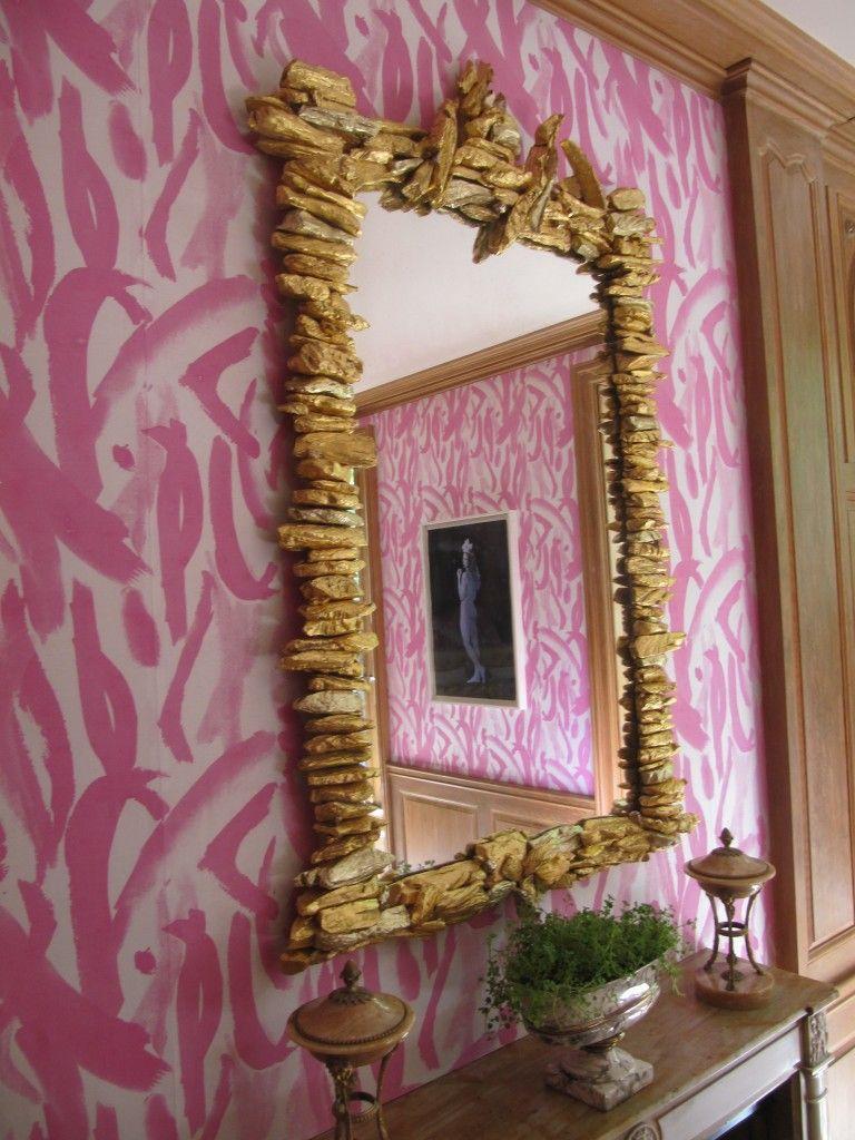 Love the gold driftwood mirror Wall wallpaper, Blush