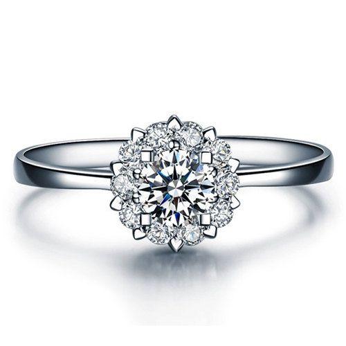 Round Shape Forever One Moissanite Engagement Ring Platinum Art Deco