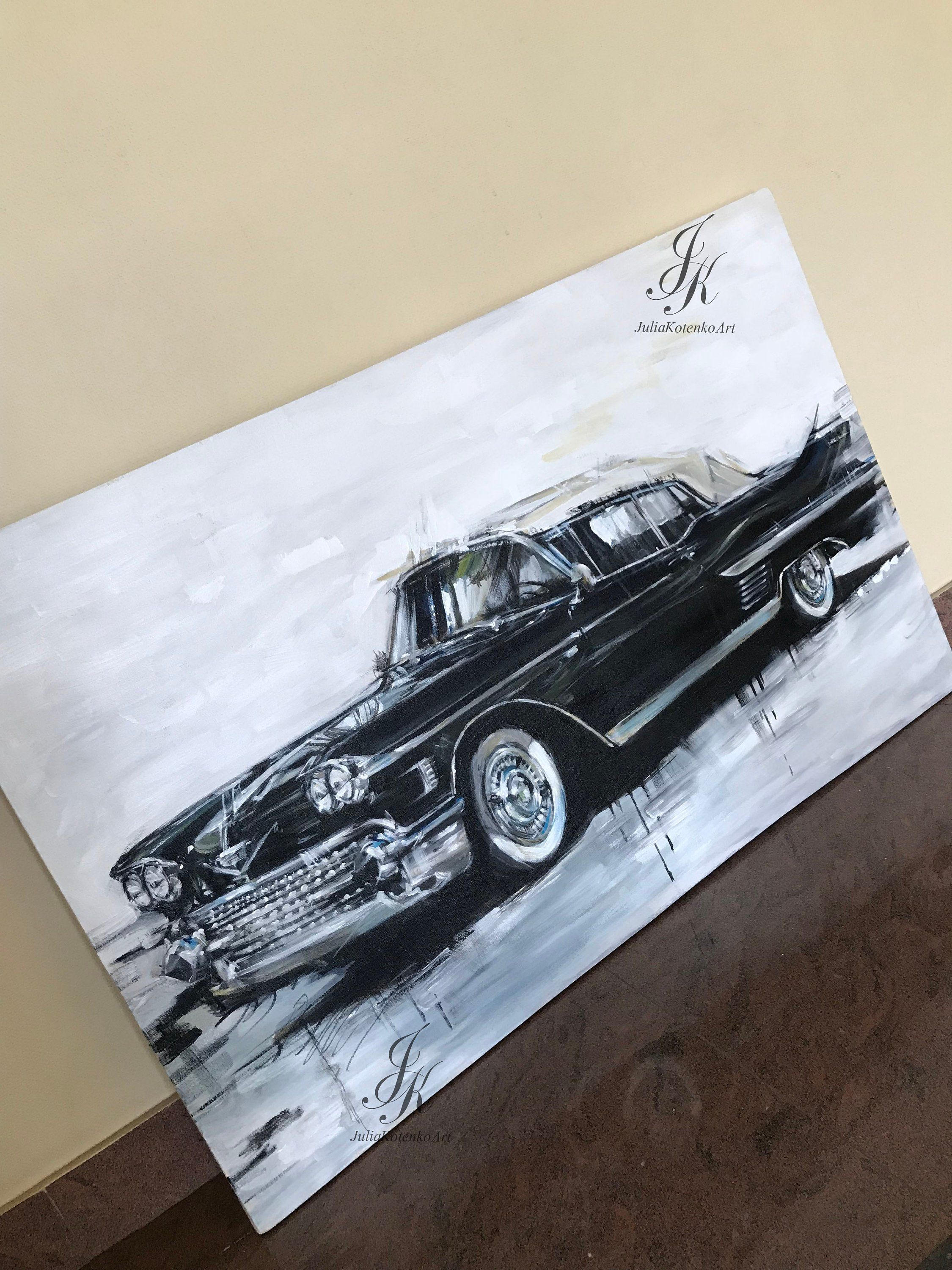 Large Retro Car Painting,Black car Retro car Hand Made Art Classic Car, Original Painting Modern Acrylic Painting On Canvas by Julia Kotenko