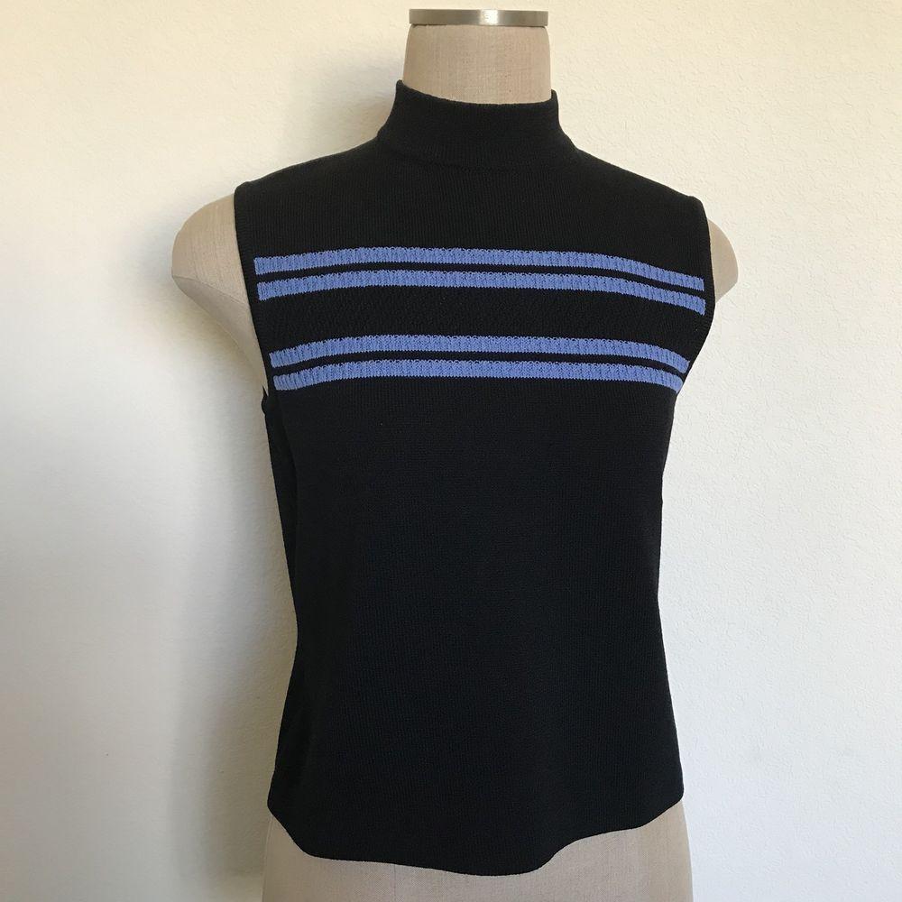6521c5d0525 St. John Womens Size S Black Blue Striped Knit Mock Turtleneck Sleeveless  Top  StJohn  TankCami  Career