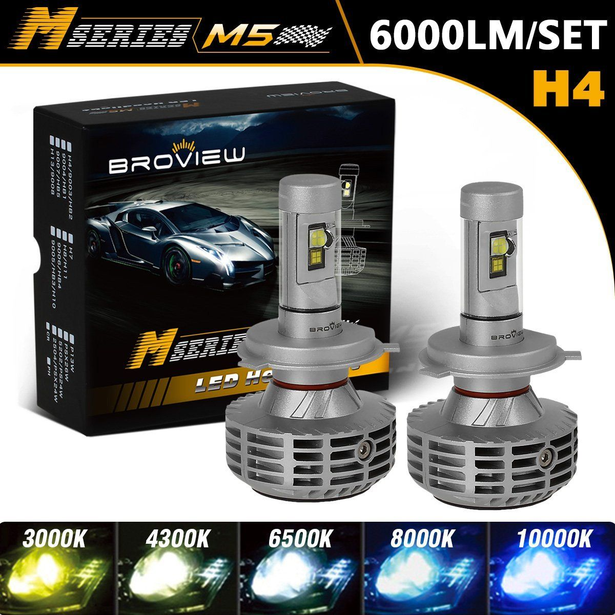 Broview M5 H4 Led Headlight Bulb Conversion Kit 6 000 Lm 3 000