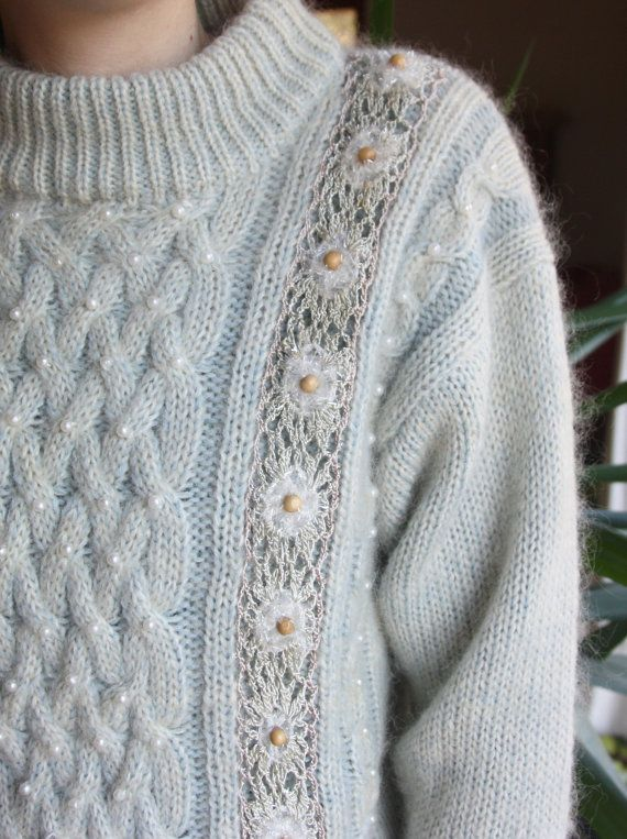 Cool vintage sweater - pale greenish gray with cable knit details and  appliqué made of lace 3ddaae66f