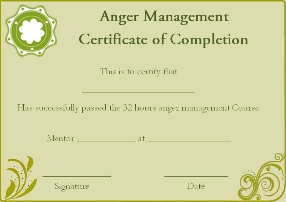Anger Management Certificate Of Completion Template  Certificate