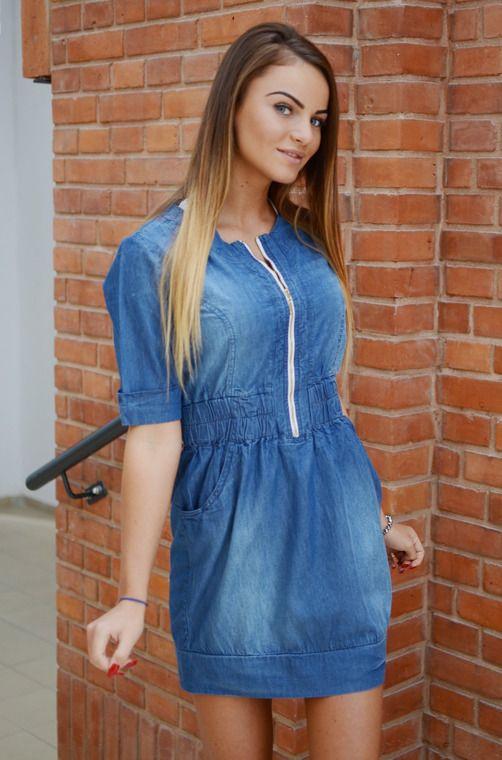 45f73f04fe Sukienka z materiału jeansopodobnego ze ściągaczem w pasie