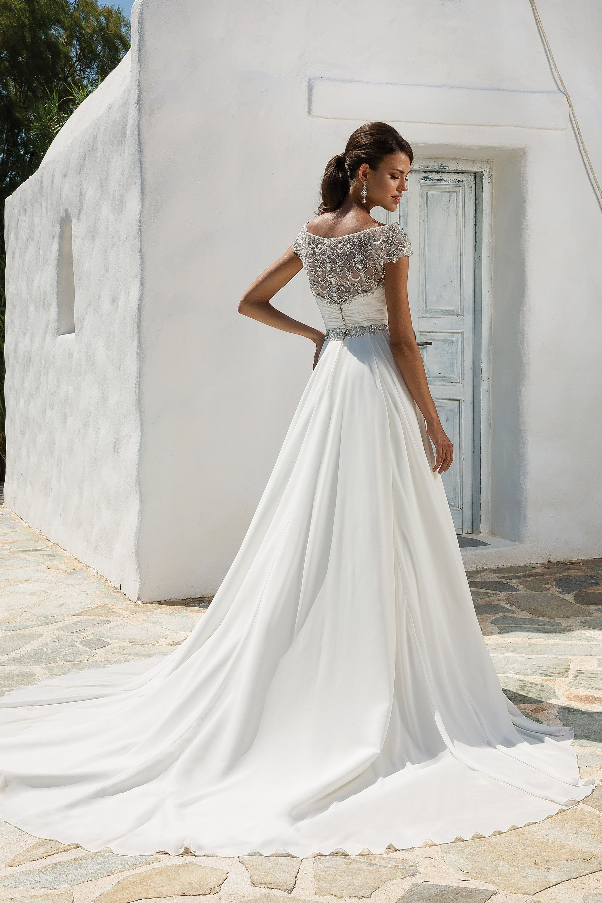 Gorgeous chiffon ball gown with beaded embroidery and portrait
