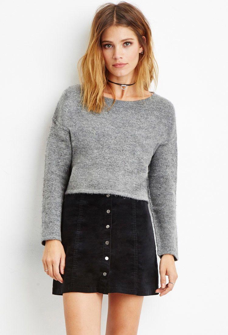 Contemporary Brushed Knit Cropped Sweater | Tshirts femininas ...