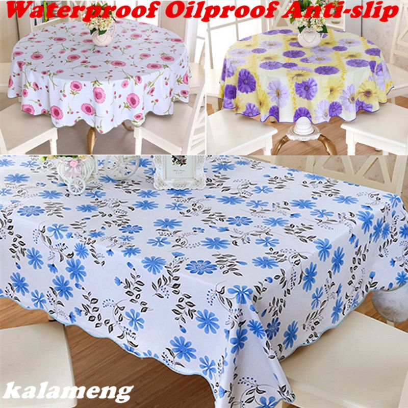 Wipe Clean Round PVC Vinyl Tablecloth Dining Kitchen Table Cover Protector  OILCLOTH VINYL FABRIC CR