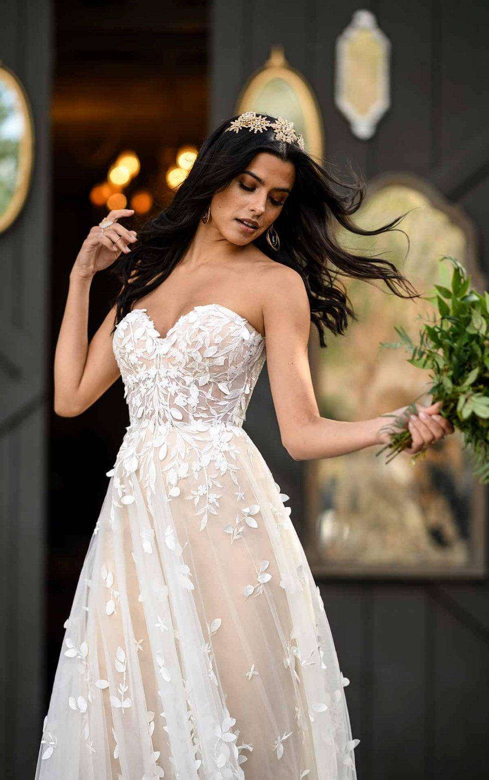 Strapless ALine Boho Wedding Gown With OrganicShaped