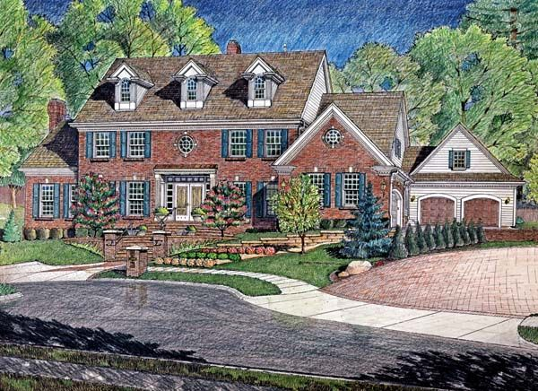 Colonial Style House Plan 66679 With 4 Bed 6 Bath 4 Car Garage Colonial House Plans Colonial House Colonial Style Homes