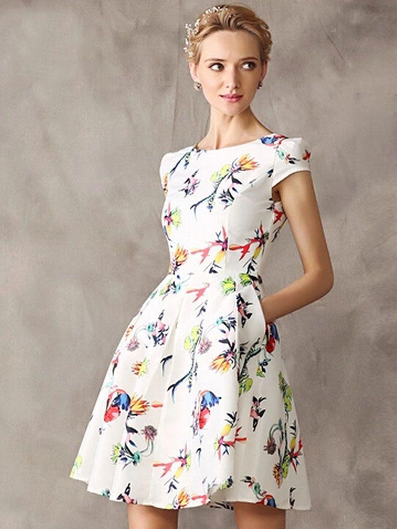 White floral cap sleeve high waist skater dress my style