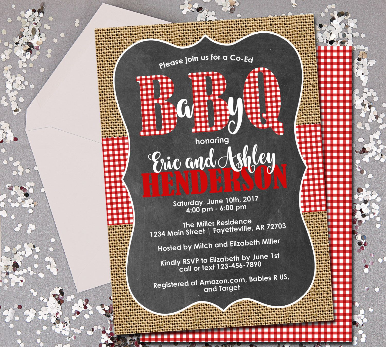 BabyQ Baby Shower Invitation, Couples Shower, Co-ed Baby Shower, BBQ ...