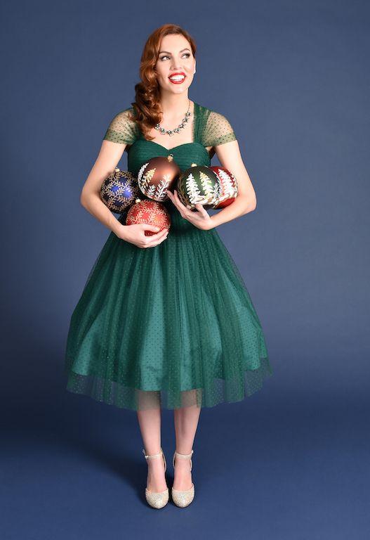 f448a63ff9fda Unique Vintage Emerald Green Swiss Dot Garden State Mesh Dress ...