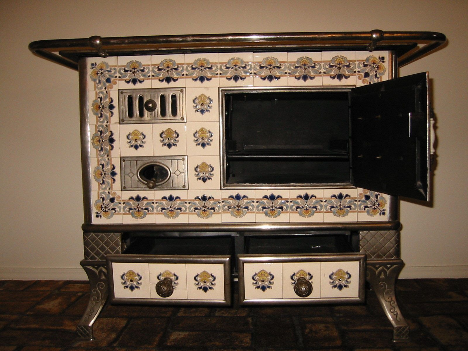 Antique French Tile Cook Stoves