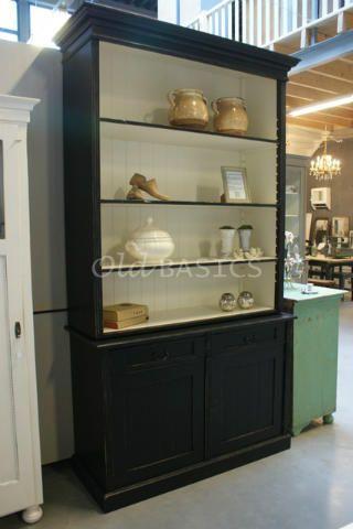 boekenkast alain 10032 hoge boekenkast in een diepzwarte kleur de stijlvolle landelijke kast heeft