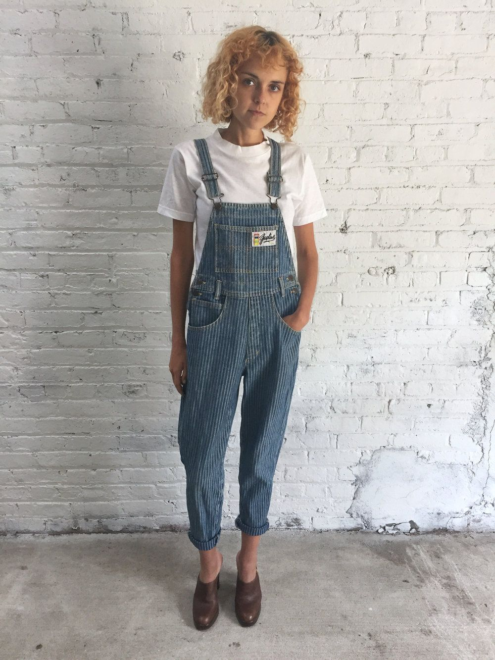 aac529033ea 80s conductor stripe denim overalls   women s vintage fitted hickory stripe  overalls   chikory herringbone denim overalls