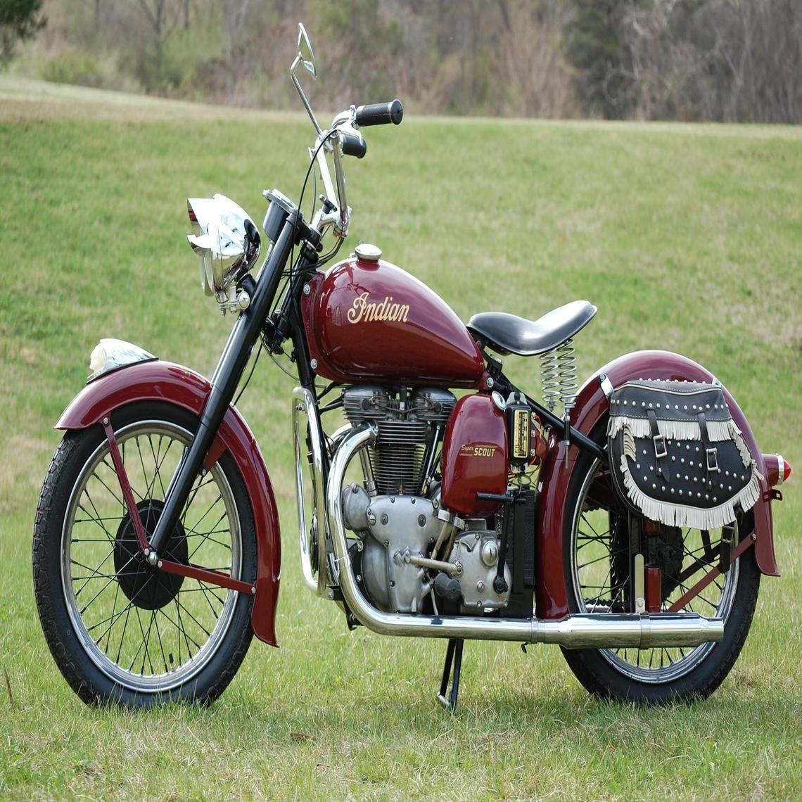 1949 Indian Super Scout Vintage Motorcycle Posters Custom Baggers Custom Choppers