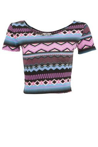 New Look Mobile | Purple and Blue Zigzag Aztec Crop Top