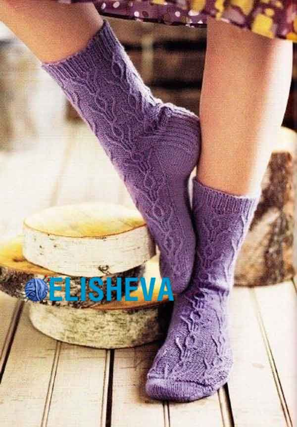 красивые носки с узором тюльпаны вязаные спицами блог Elisheva