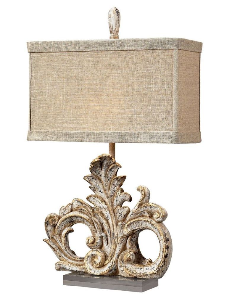 Old World Tuscan Scroll Leaf Ornate Table Lamp Distressed Finish Linen Shade 26 Led Table Lamp Table Lamp Lamp