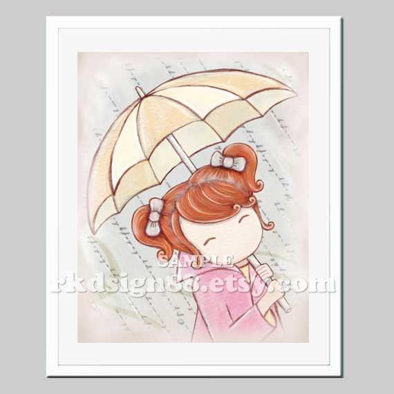 Rainy day girls room decor kids wall art baby girl nursery decor children decor, umbrella art, red hair