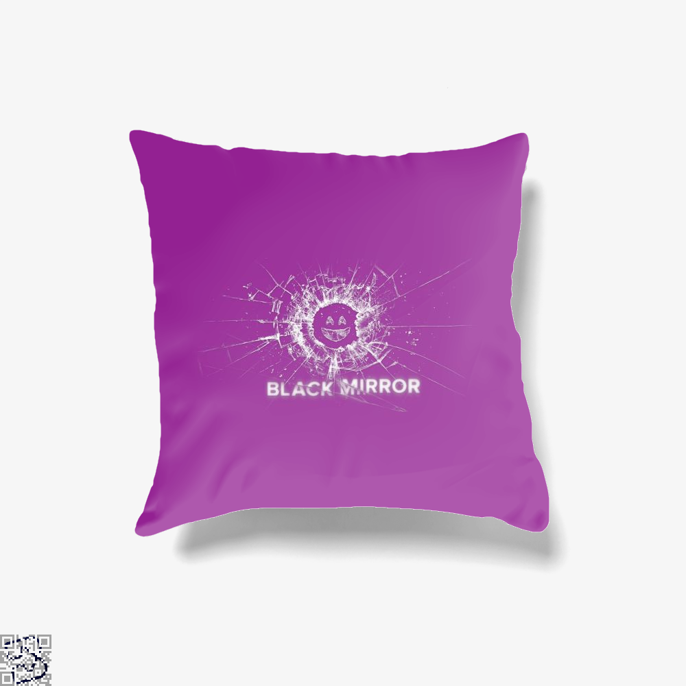 Broken Glass With Smiley Face Black Mirror Throw Pillow Cover Throw Pillow Covers Black Mirror