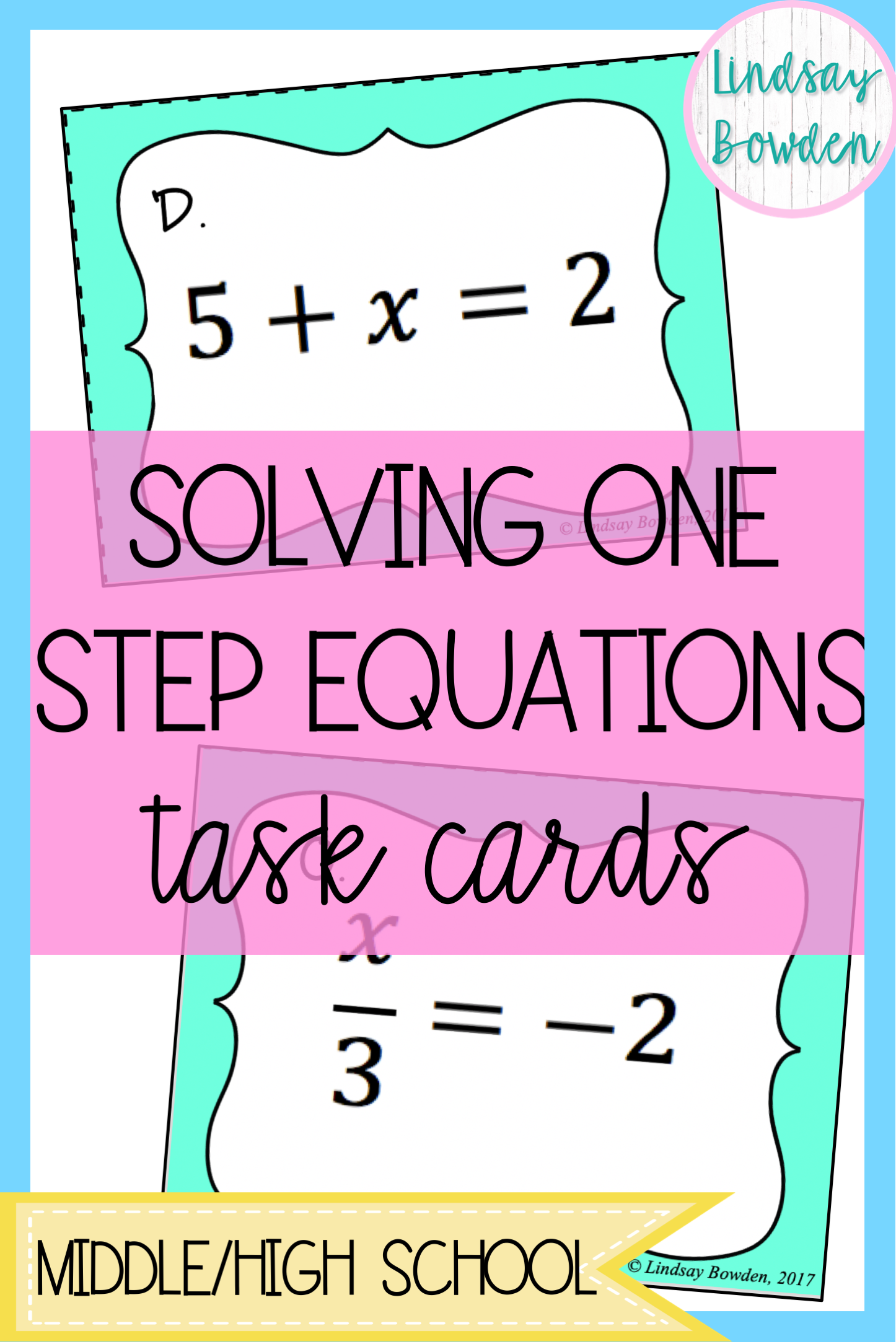 One Step Equation Task Cards With Images