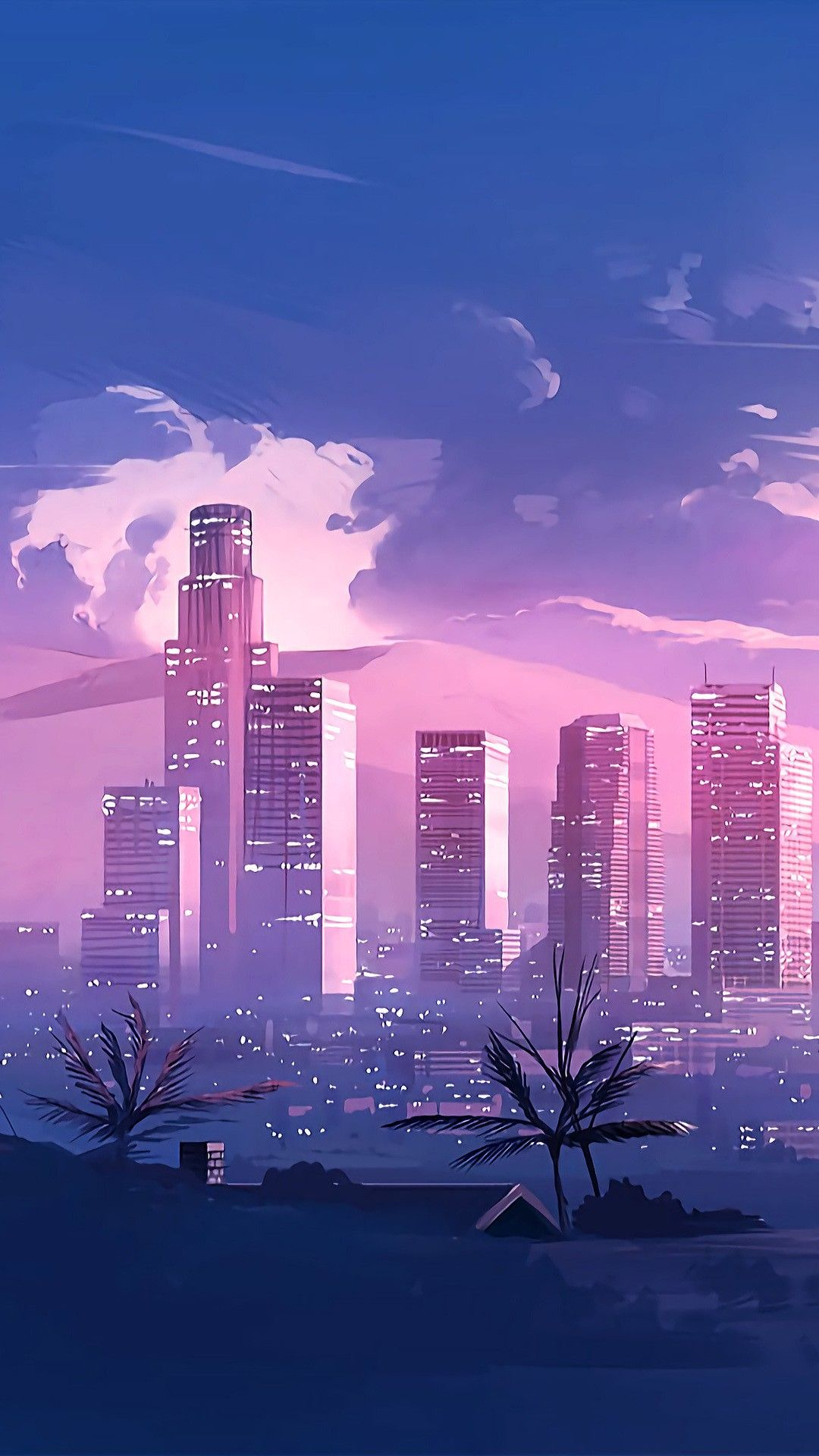 Early evening cityscape illustration drawing pink blue